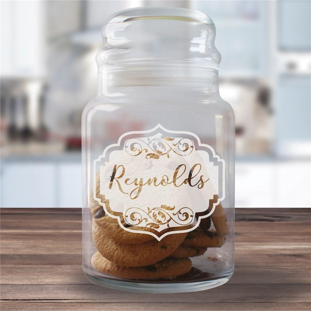 Personalized Engraved Vintage Family Glass Jar