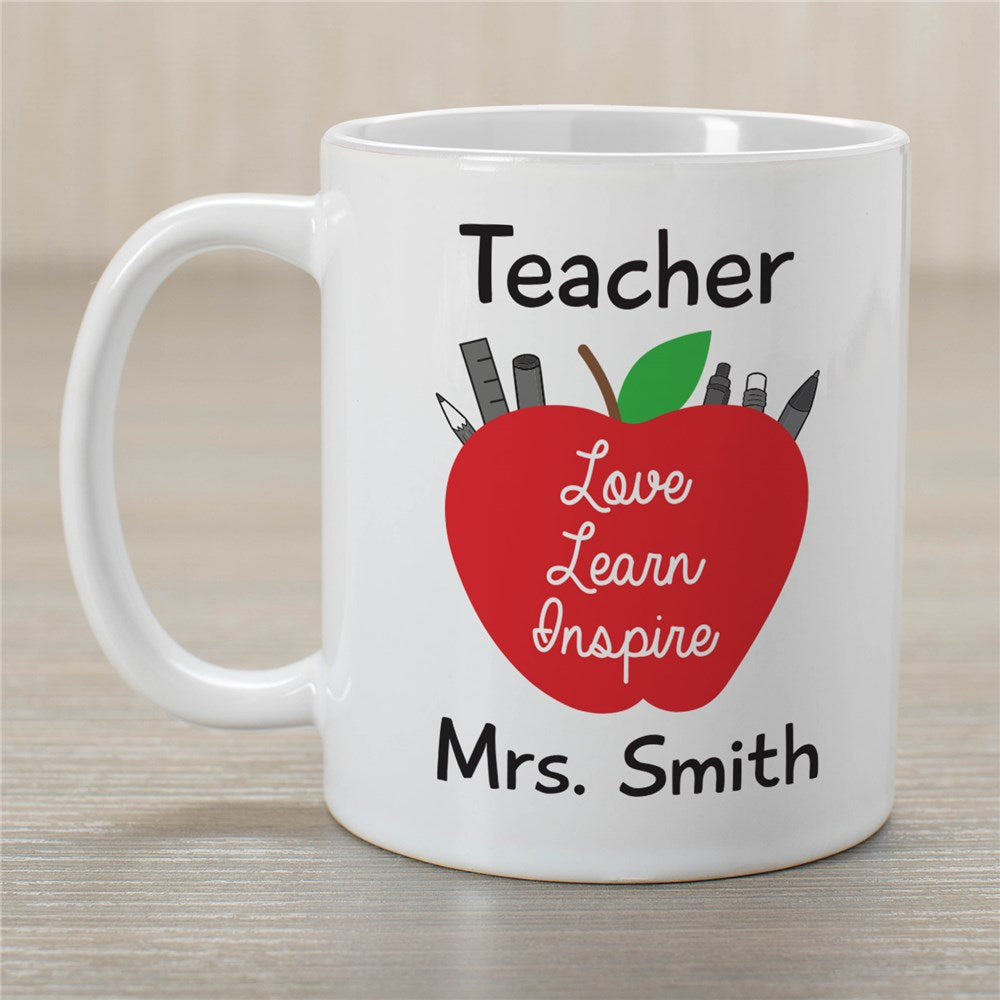 Personalized Teacher Love, Learn, Inspire Mug