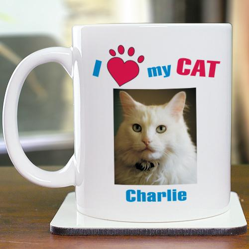 Personalized I Love My Cat Photo Coffee Mug
