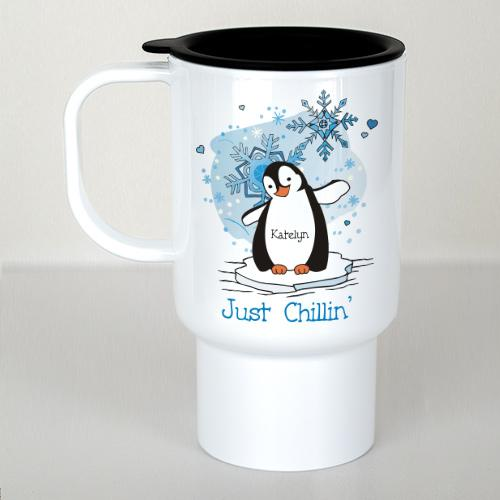 Personalized Just Chillin' Penguin Travel Mug