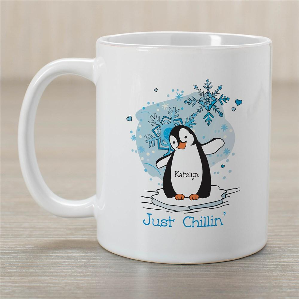 Personalized Just Chillin' Penguin Winter Coffee Mug