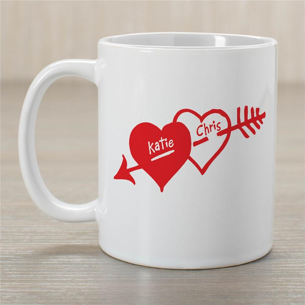 Personalized Two Hearts Valentine Coffee Mug - Valentine's Day Gift