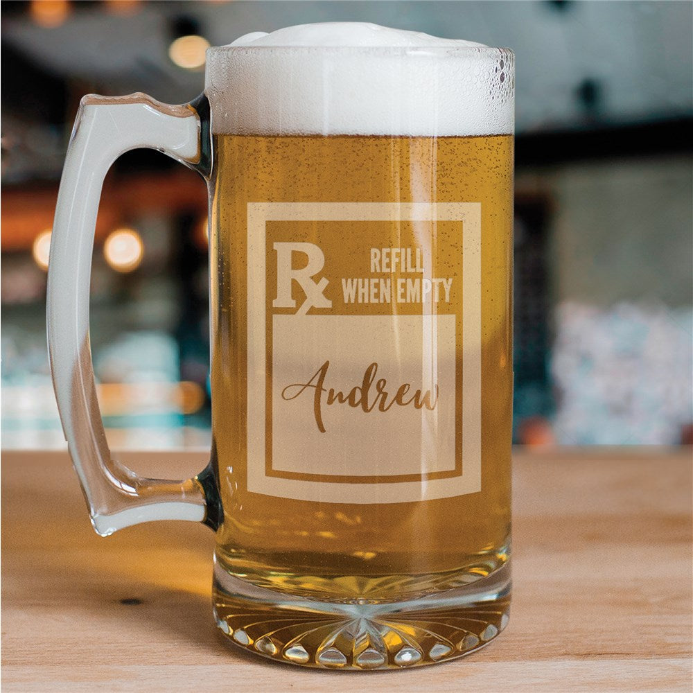 Personalized Engraved Prescription Rx Beer Mug