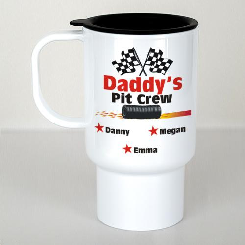 Personalized Daddy's Pit Crew White Travel Mug