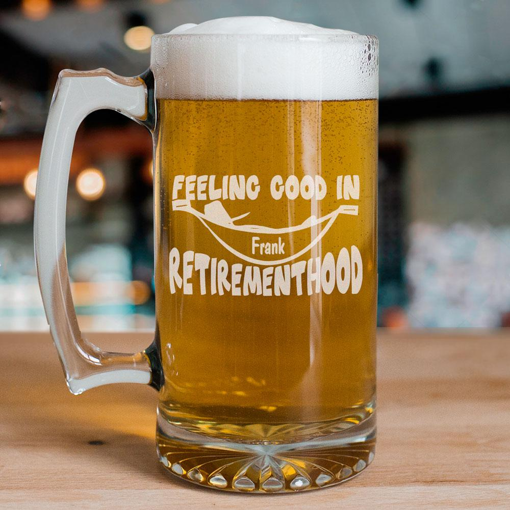 Personalized Retirement Glass Beer Mug