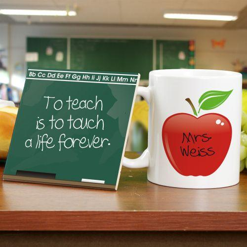 Personalized Chalkboard Teacher Mug And Coaster Set