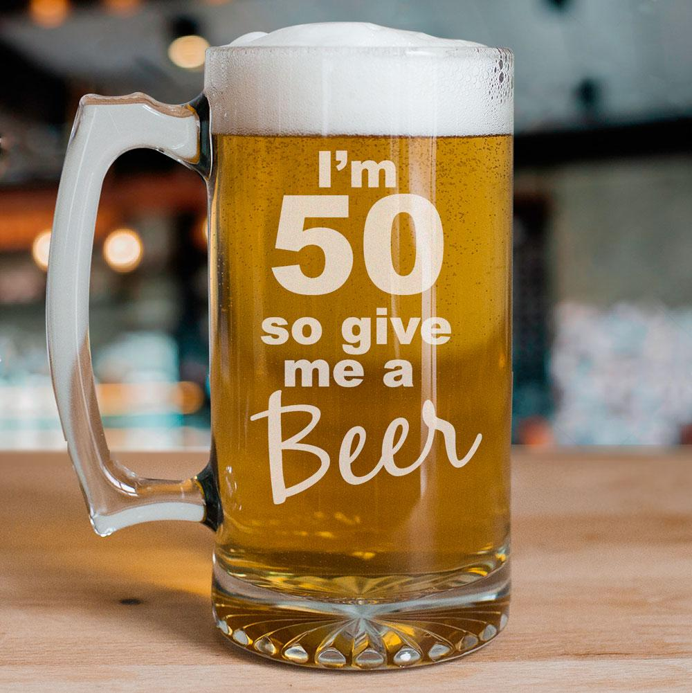 Personalized Give Me A Beer 50th Birthday Glass Mug