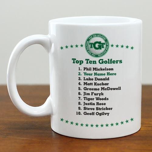 Personalized Top Ten Golfers Mug