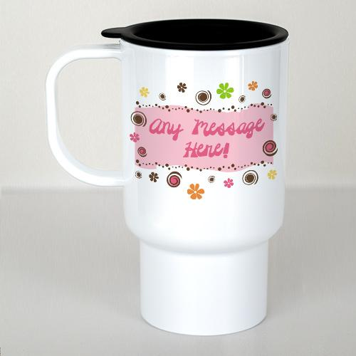 Personalized Floral Retro Travel Mug