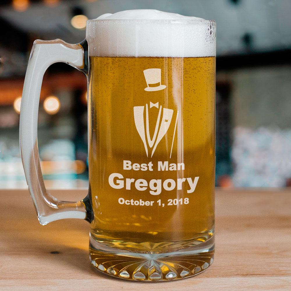 Personalized Engraved Groomsman Glass Mug