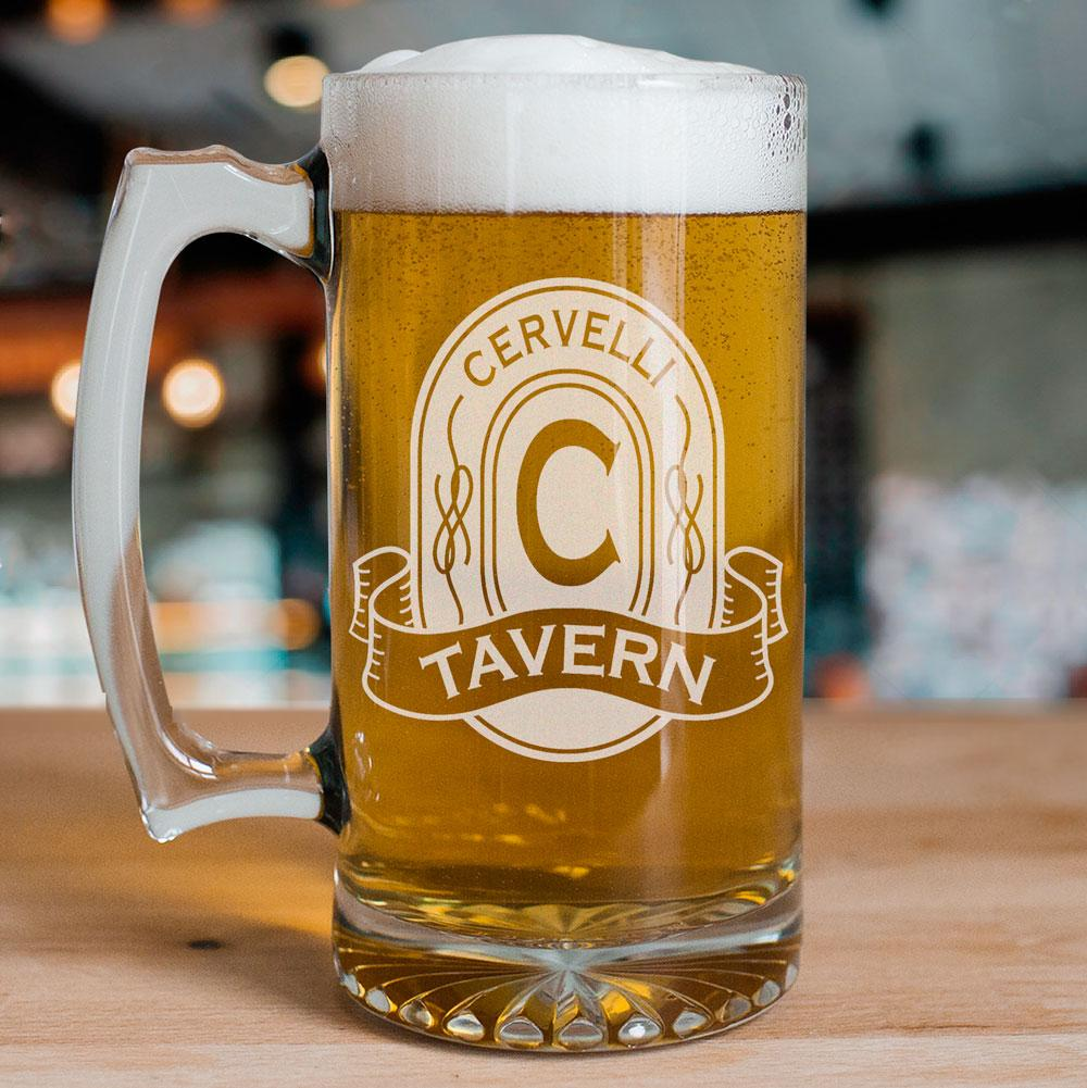 Personalized Engraved Tavern Glass Mug