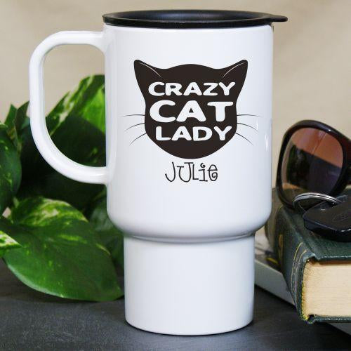 Personalized Crazy Cat Lady Travel Mug