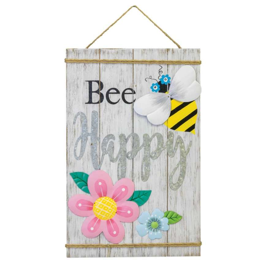 Bee Happy Floral Wooden Sign - Hanging Easter Decoration