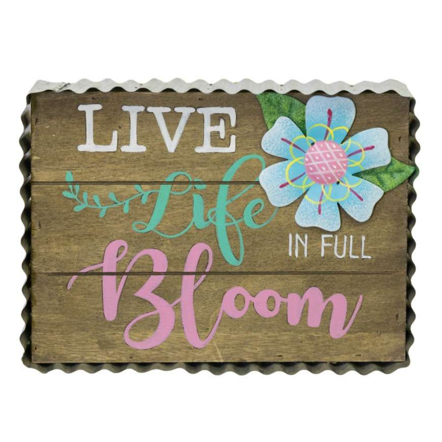 Life Life in Full Bloom Sign - Hanging Easter Decoration