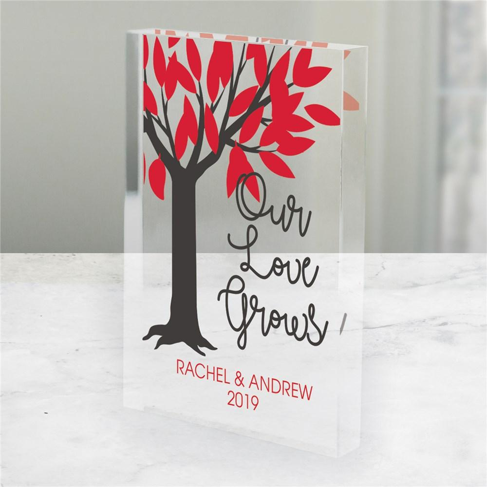 Personalized Our Love Grows Acrylic Block Keepsake - Valentine's Day Gift