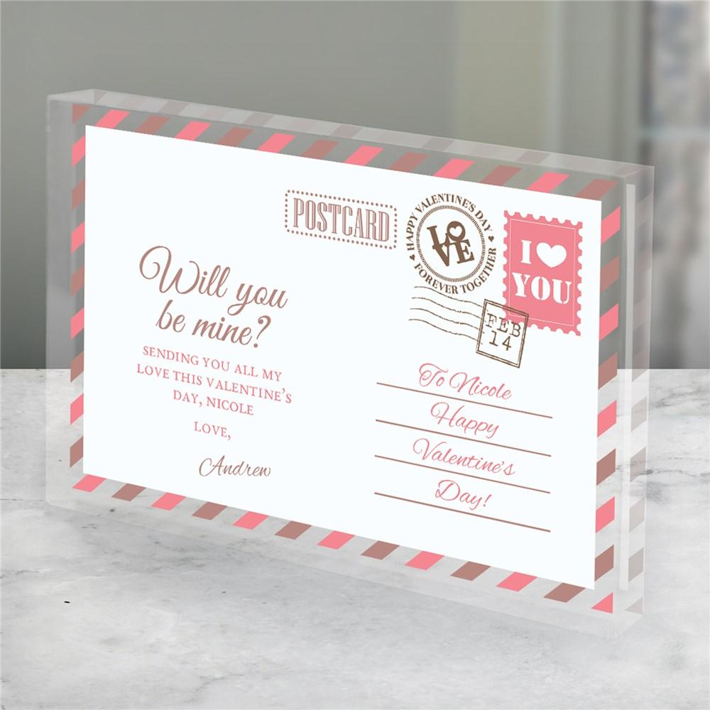 Personalized Be Mine Postcard Acrylic Keepsake - Valentine's Day Gift