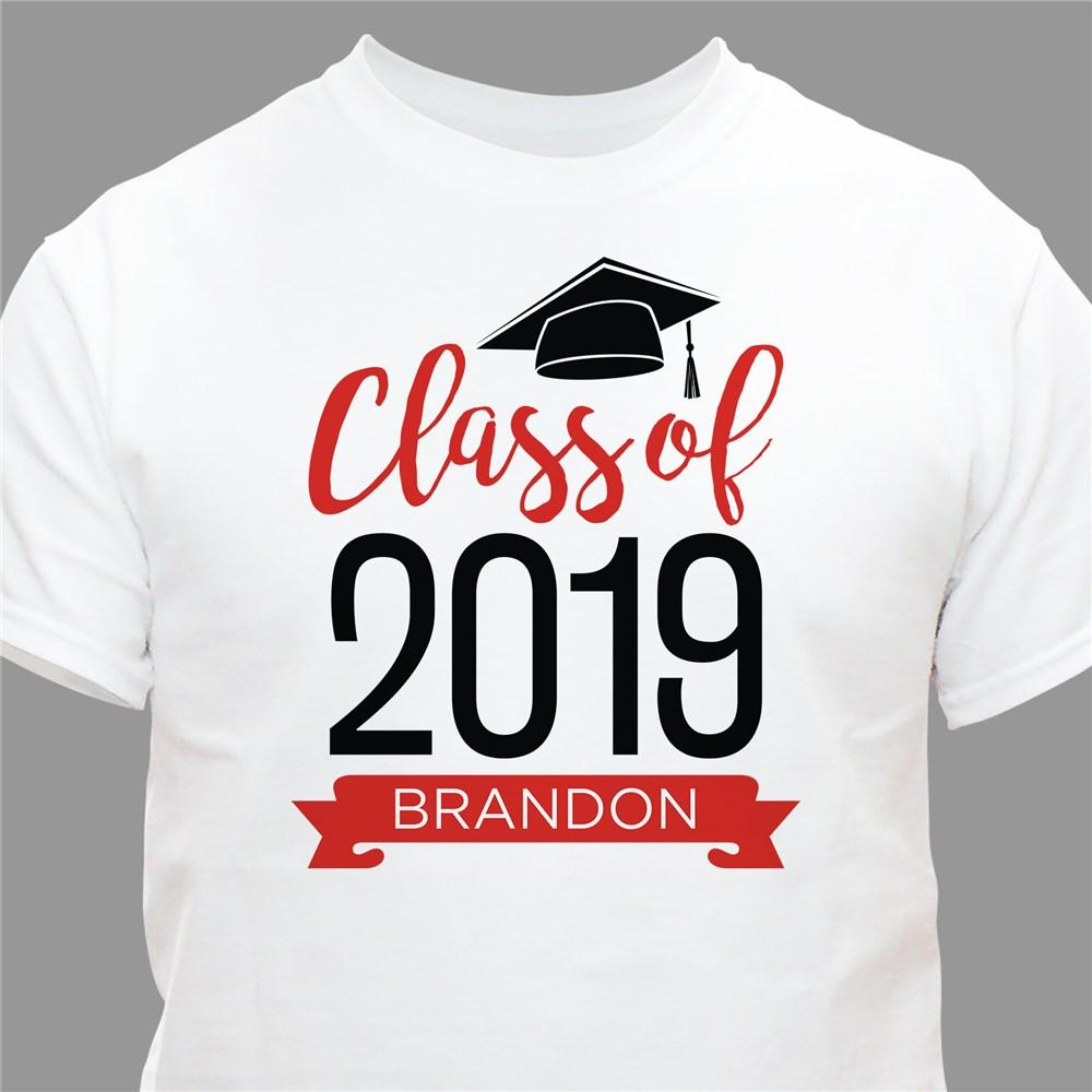 Personalized Graduate Hat With Banner White T-Shirt