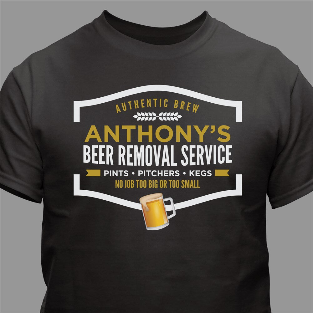 Personalized Beer Removal Service Black T-Shirt