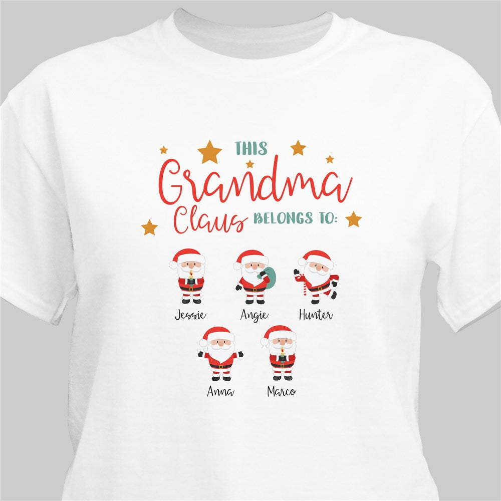 Personalized This Grandma Claus Belongs To T-shirt
