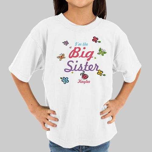 Personalized Butterfly And Flowers Big Sister T-Shirt