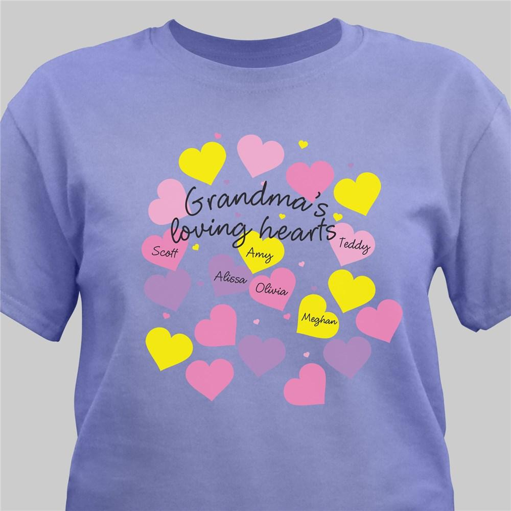 Personalized Heart Grandma T-Shirt