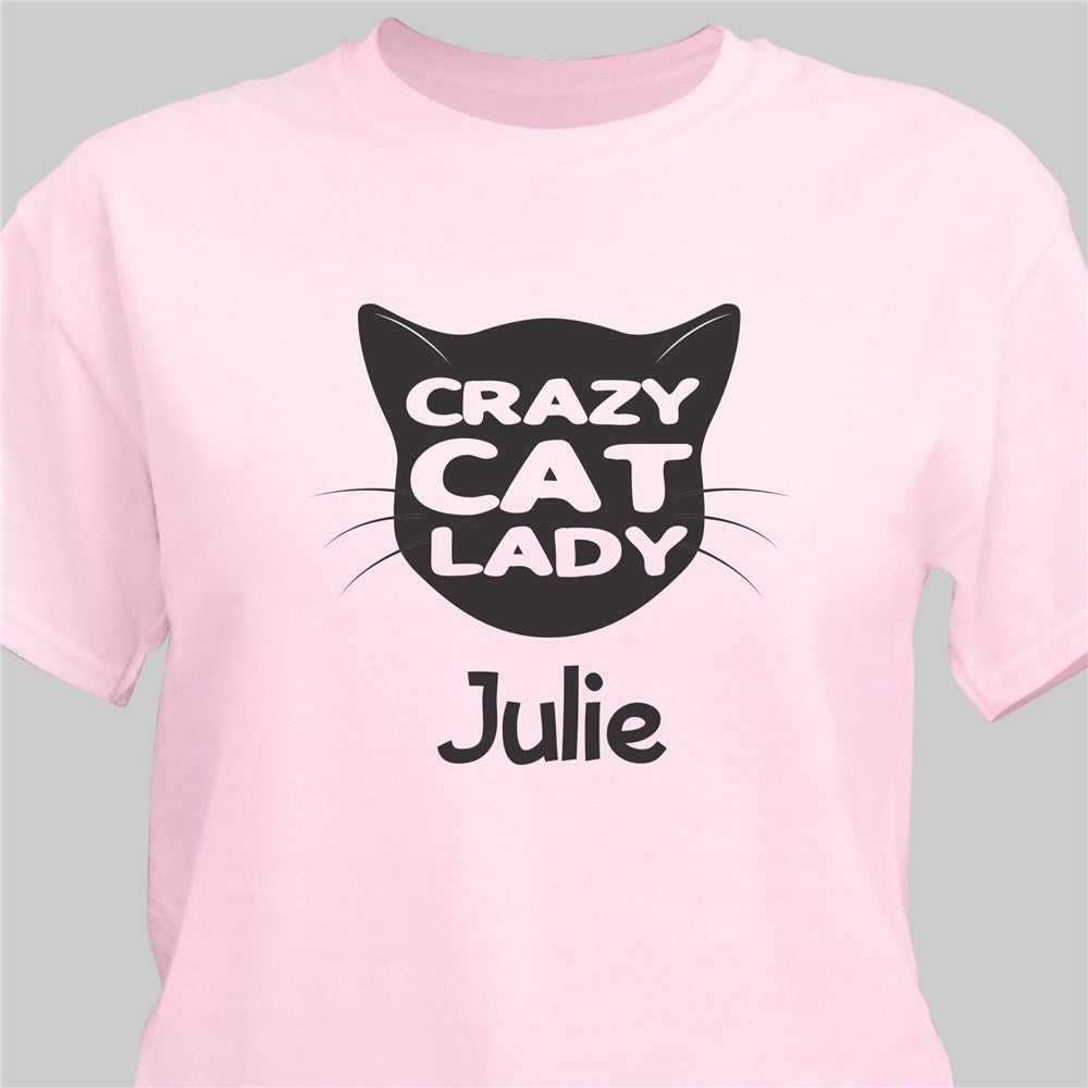 Personalized Crazy Cat Lady Pink T-Shirt