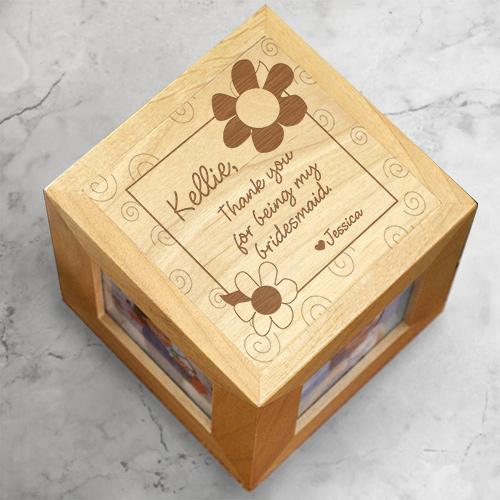 Personalized Thank You Bridesmaid Photo Cube