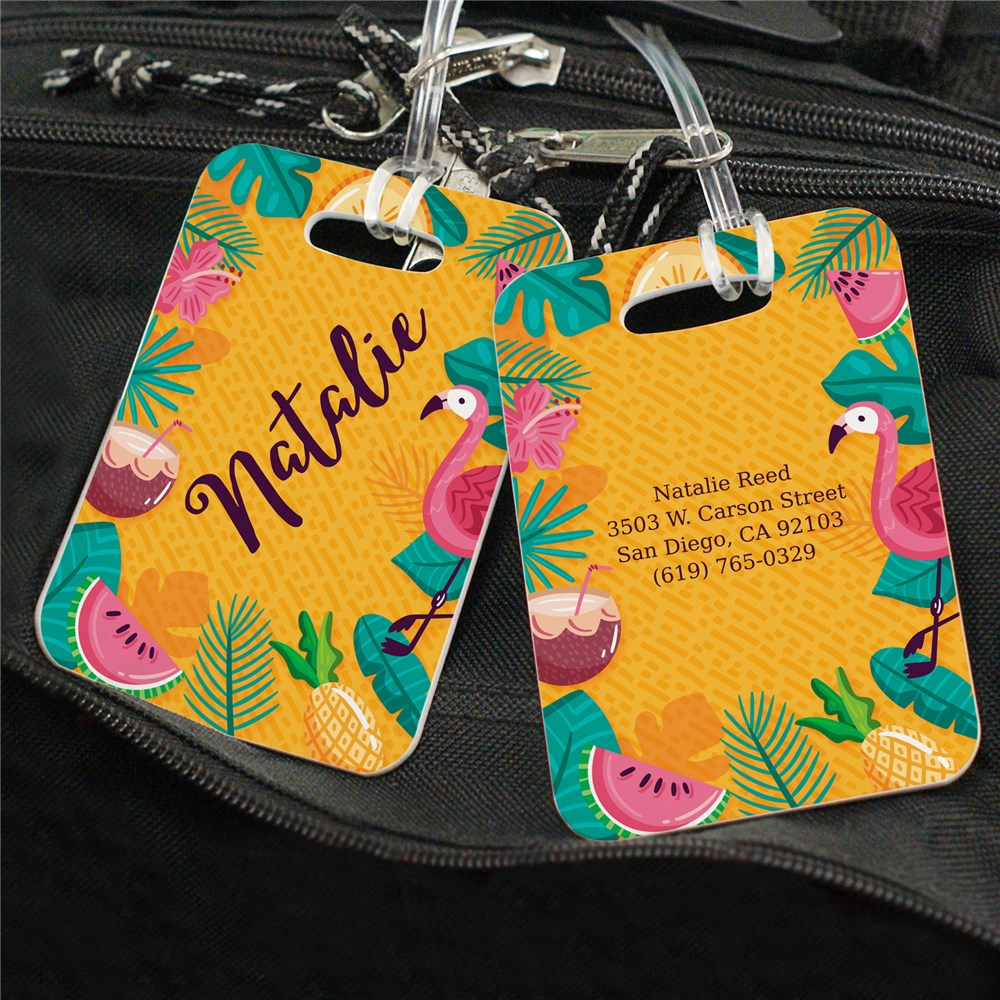 Personalized Tropical Flamingo Luggage Tag