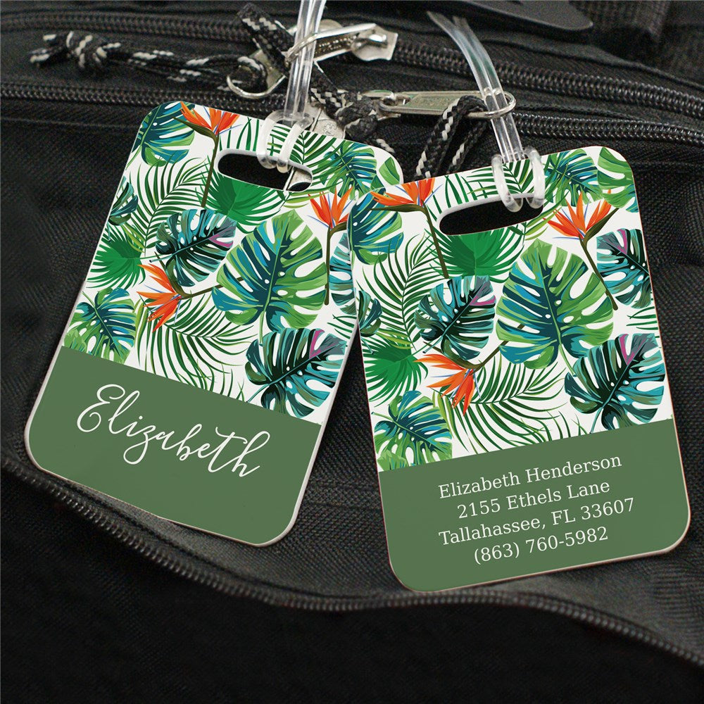 Personalized Tropical Plants Luggage Tag