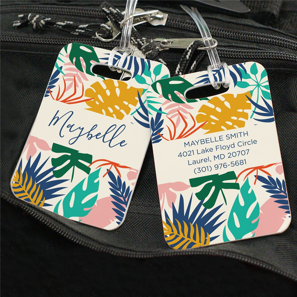 Personalized Colorful Tropical Leaves Luggage Tag