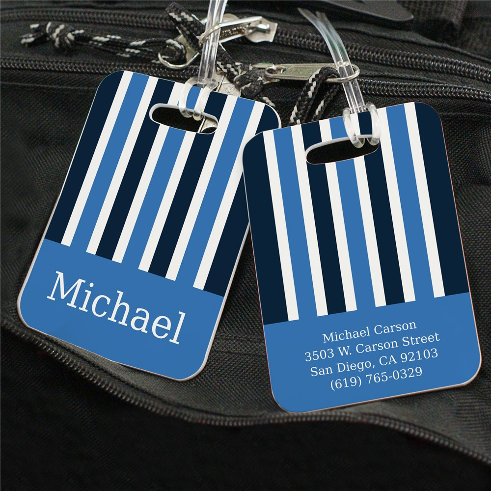 Personalized Blue Stripes Luggage Tag