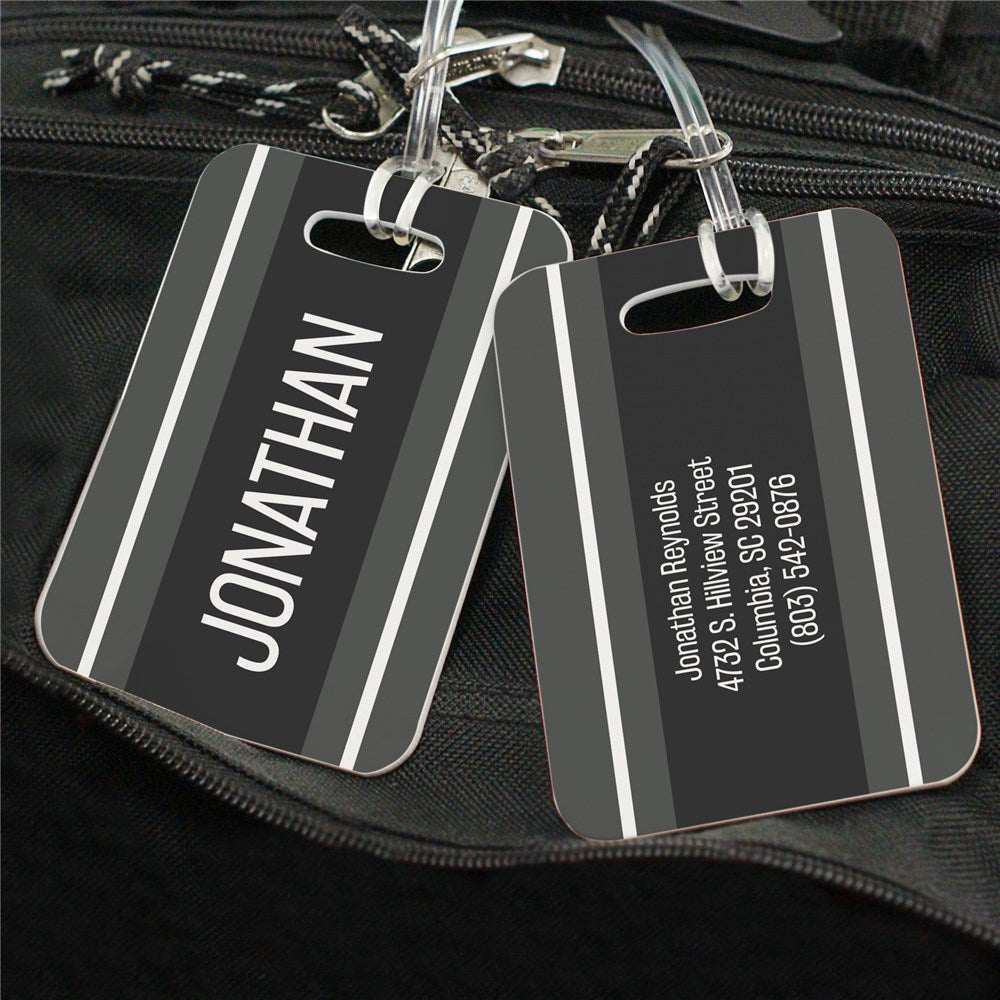 Personalized Black Stripes Luggage Tag