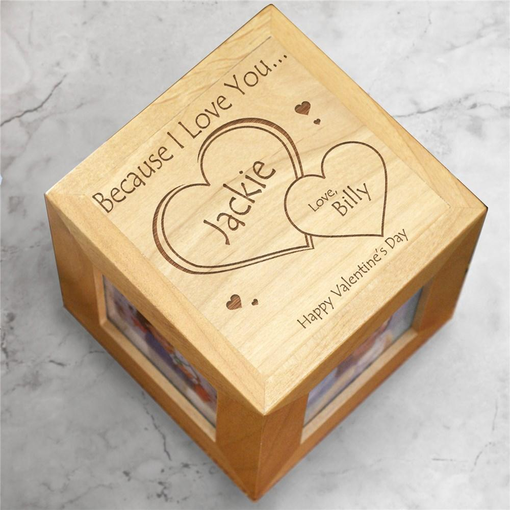 Personalized Engraved Because I Love You Photo Cube - Valentine's Day Gift