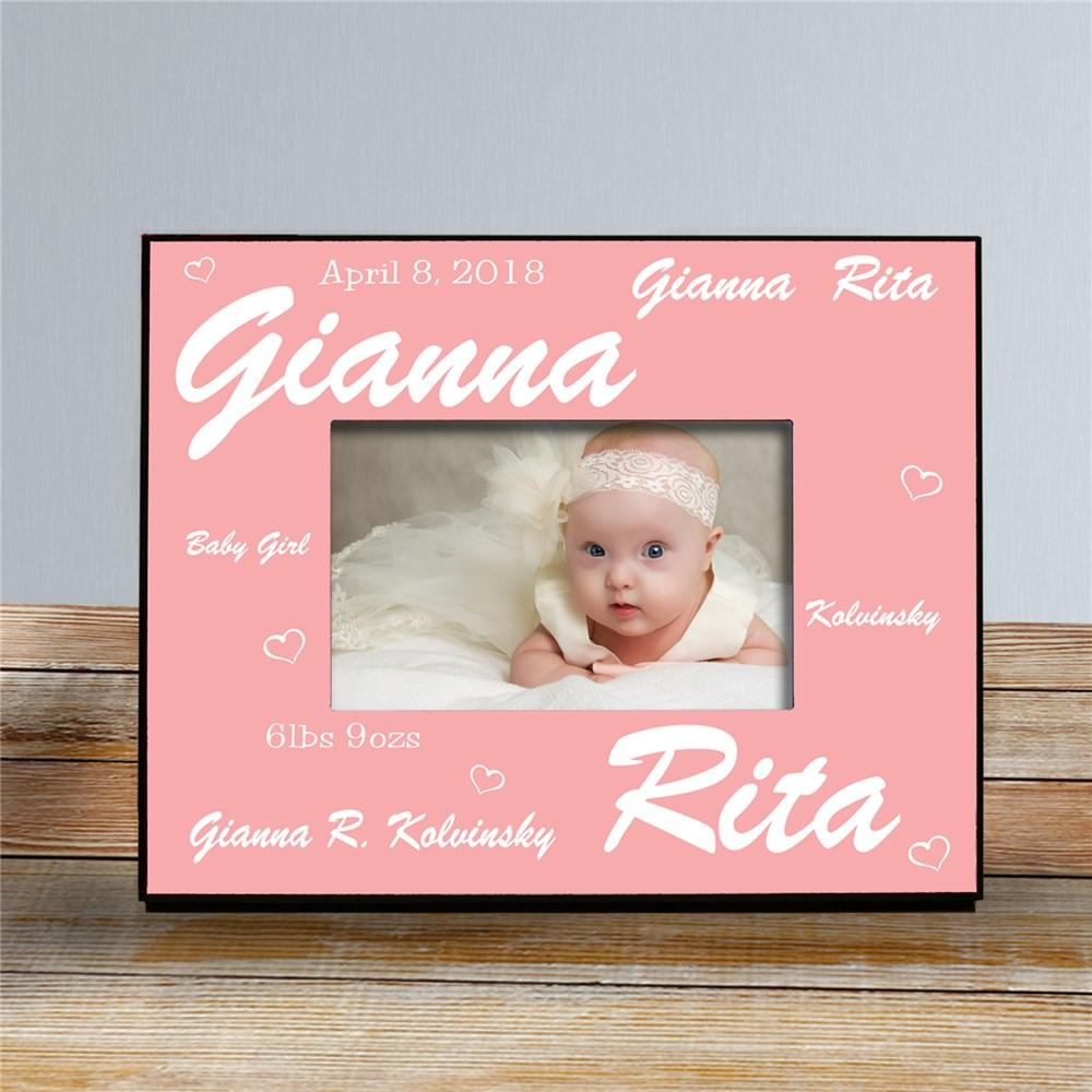 Personalized New Baby Girl Printed Frame