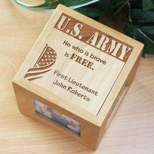 Personalized Engraved Military Wooden Photo Cube