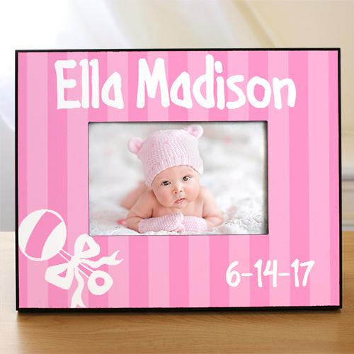 Personalized New Baby Girl Rattle And Bow Printed Frame