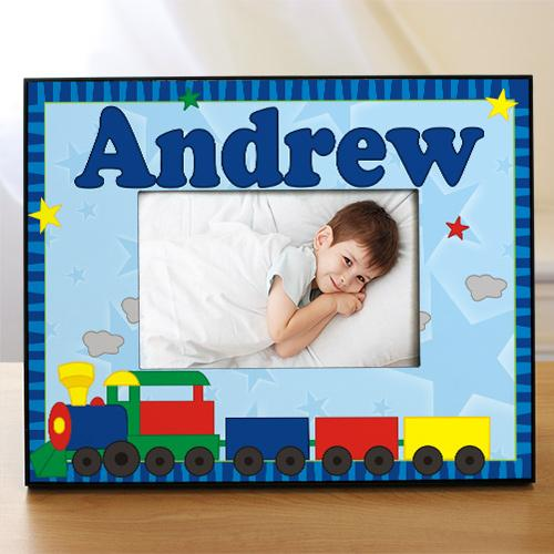 "Personalized New Baby ""All Aboard Baby Train"" Printed Frame"