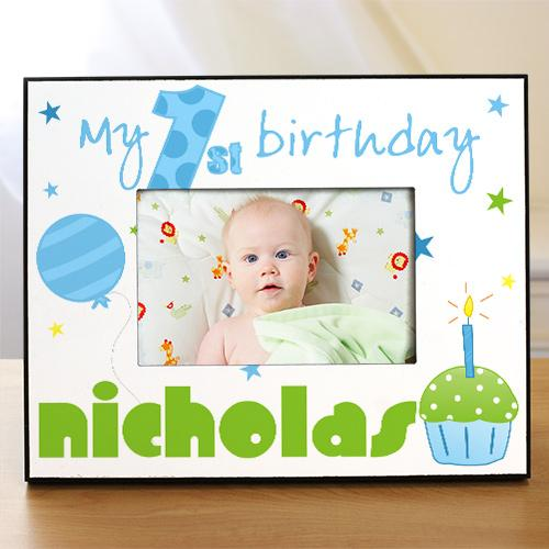 Personalized Baby Boy's 1st Birthday Printed Frame