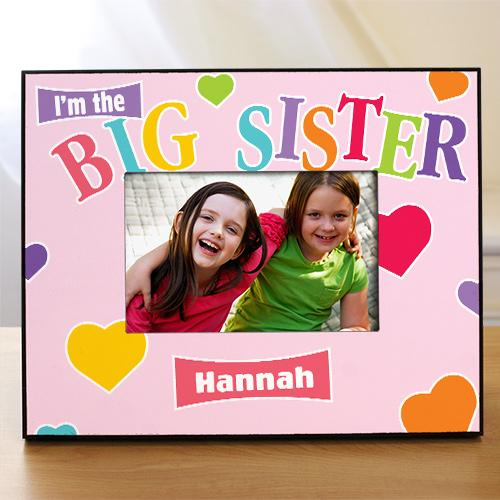 Personalized Heart Big Sister Printed Frame