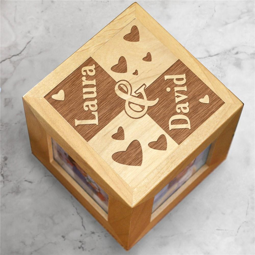 Personalized Engraved Couple's Photo Cube - Valentine's Day Gift