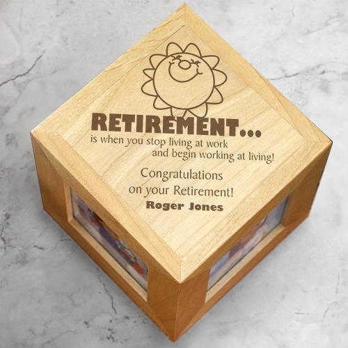 Personalized Engraved Retirement Photo Cube