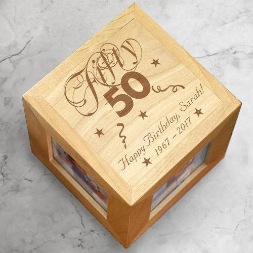 Personalized Engraved Birthday Photo Cube