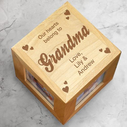 Personalized Our Hearts Grandma Photo Cube