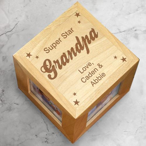 Personalized Super star Grandpa Photo Cube