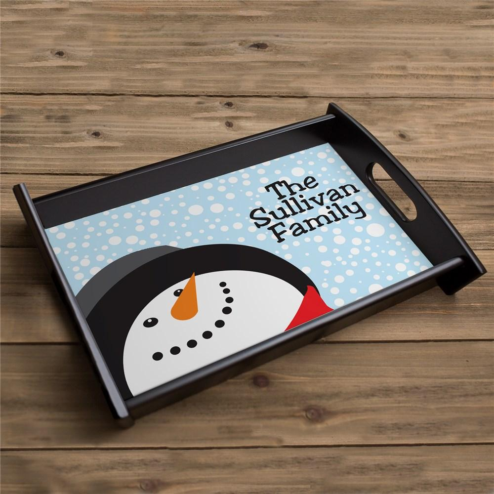 Personalized Snowman Tray With Family Name