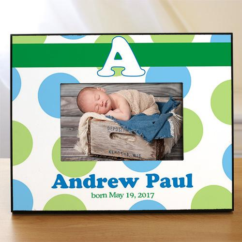 Personalized New Baby Boy Polka Dot Printed Frame