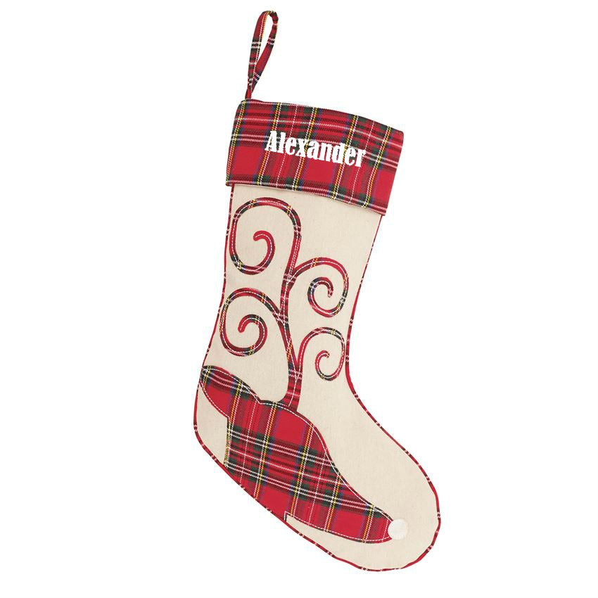 Personalized Tartan Stockings by Mudpie