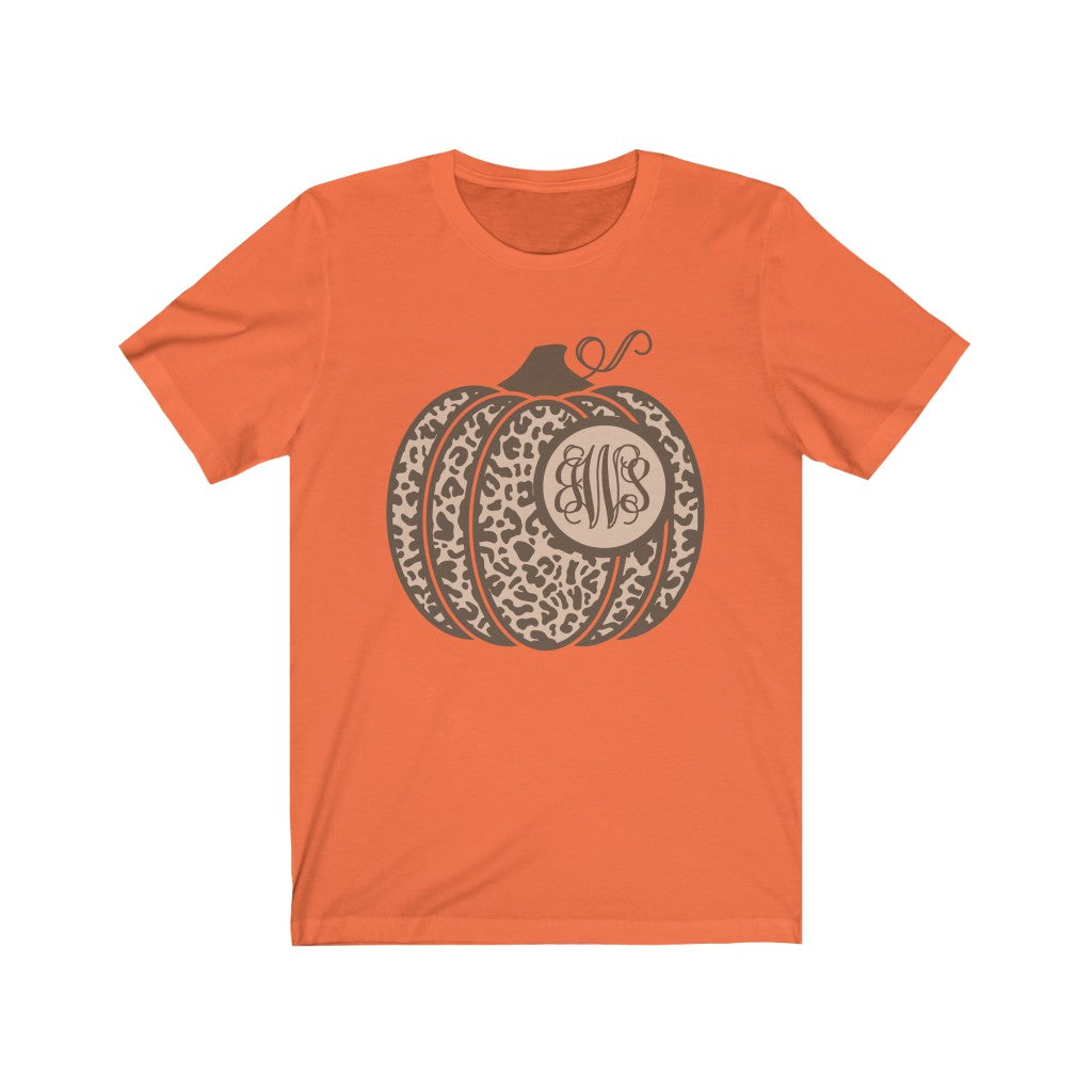 Monogrammed Leopard Pumpkin Fall T-Shirt - Short Sleeve Tee