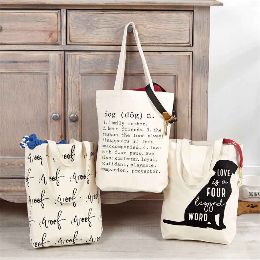 Dog Canvas Tote Bags by Mudpie