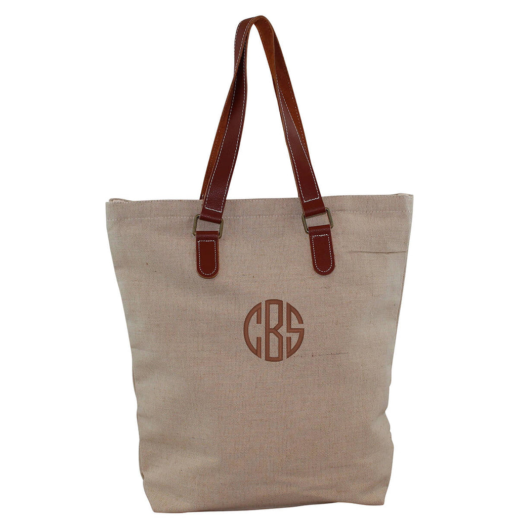Personalized Jute and Leather Tote